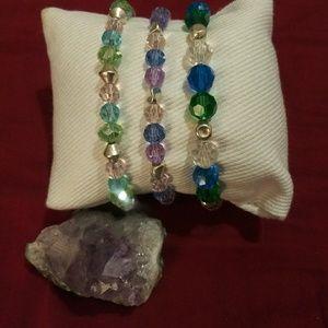 Bundle of 3 Swarovski crystal stretchy bracelets